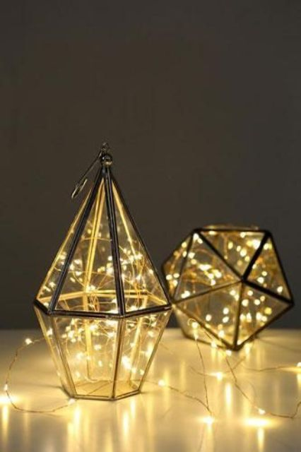 LED-filled geo lanterns will make any wedding cozier