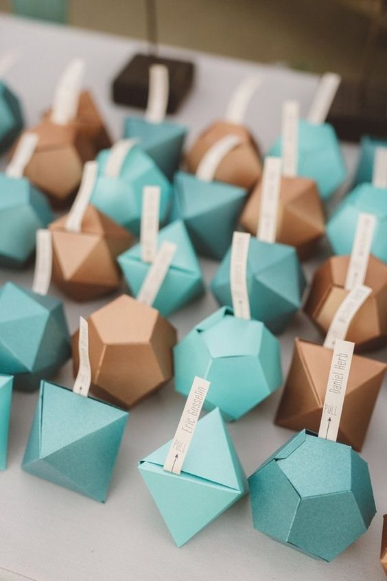 geometric table cards are just one of the many ways to add personality to your wedding