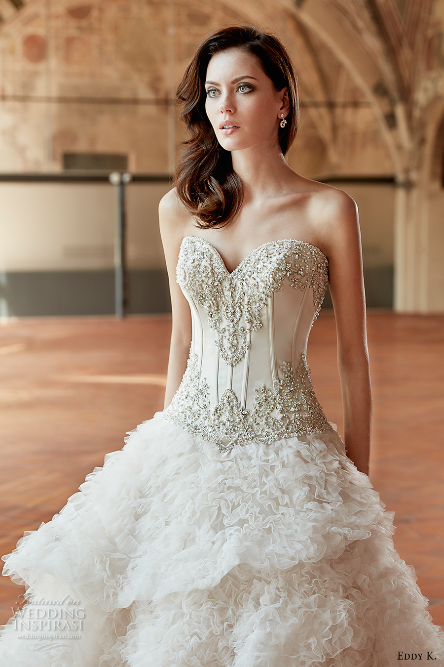 eddy k couture 2017 bridal strapless sweetheart neckline heavily embellished bodice corset tiered ruffled skirt princess glamorous ball gown wedding dress chapel train (ct169) zv