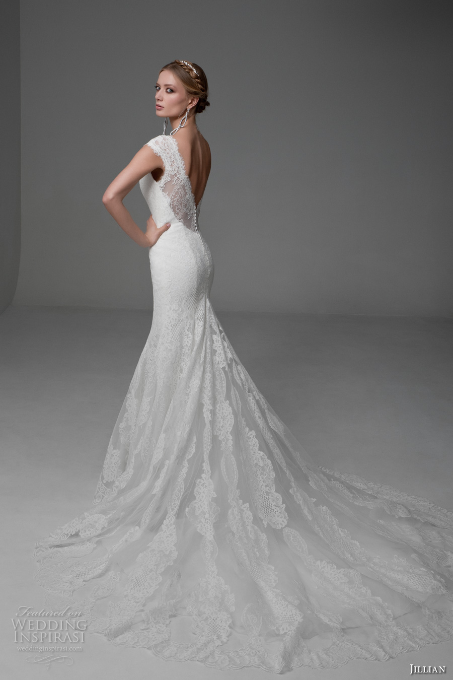 jillian 2017 bridal cap sleeves v neck full embellishment beautiful elegant mermaid wedding dress v back chapel train (manuela) bv