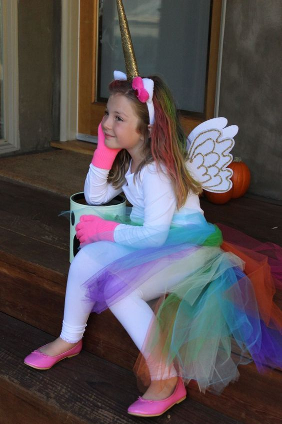 rainbow unicorn Halloween cotume with the cutest wings