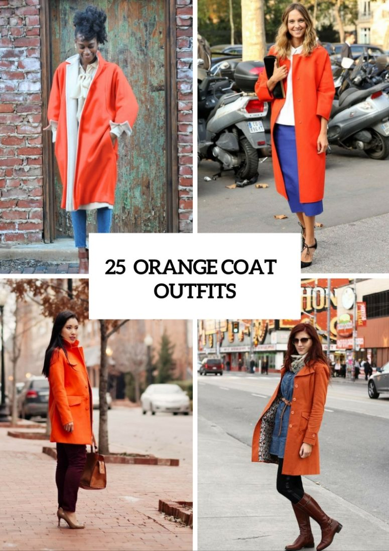 Eye Catching Orange Coat Outfits For Stylish Ladies