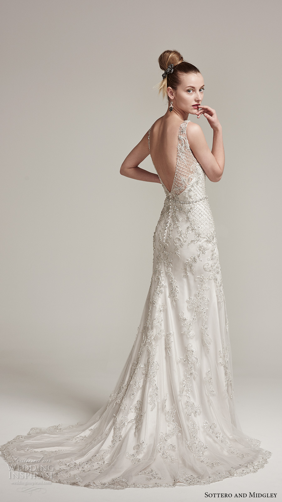 sottero midgley fall 2016 bridal sleeveless thick strap v neck heavily embellished bodice elegant sheath wedding dress v back sweep train (ronnie) bv