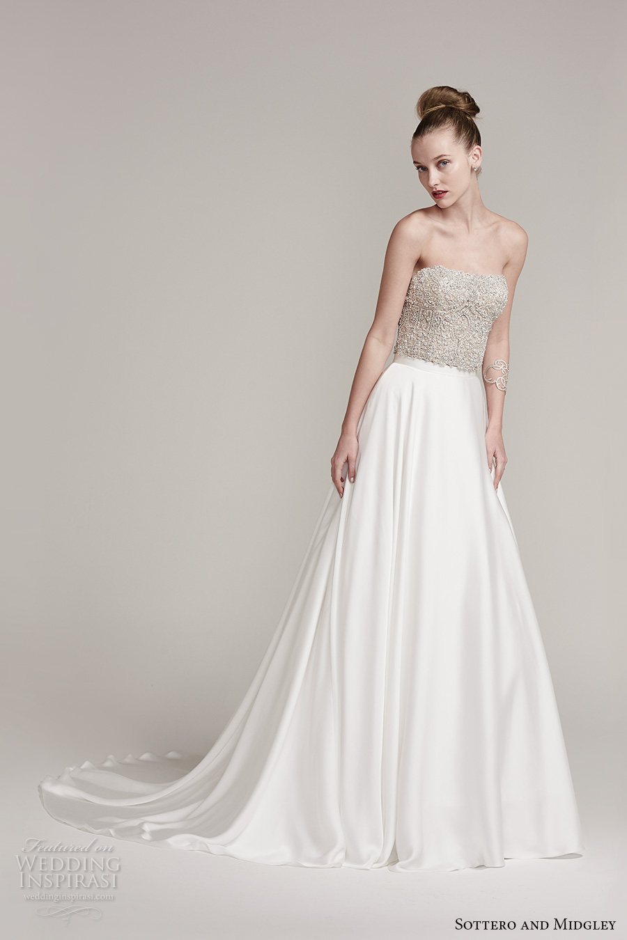 sottero midgley fall 2016 bridal strapless straight across neckline beaded heavily embellished bodice crop top satin skirt a line wedding dress sweep train (rosella top aviana marie skirt) mv