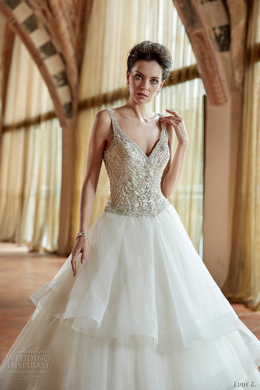 eddy k couture 2017 bridal sleeveless v neck beaded heavily embellished bodice glamorous tiered skirt a line wedding dress open back chapel train (ct179) zv