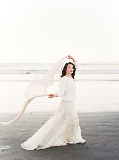 winter bridal separate with an oversized sweater and a lace skirt