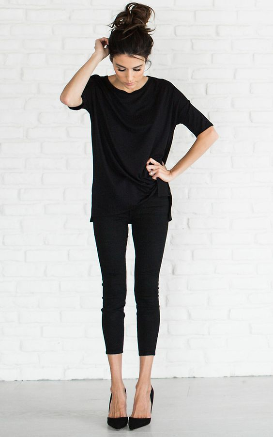 cropped leggings, an oversized tee and heels is suitable for work if your dress code isn