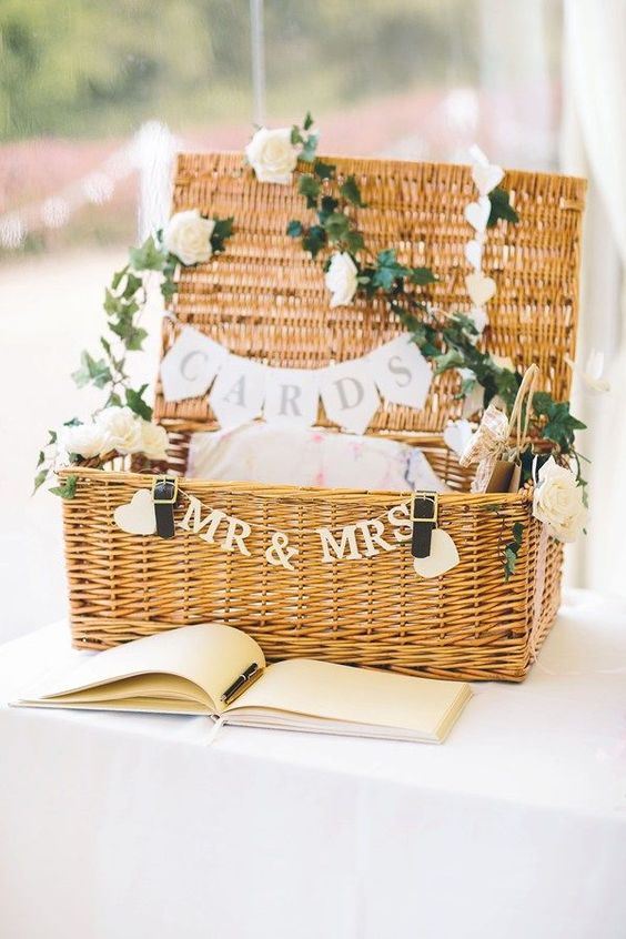 card basket decorated with flowers and banners