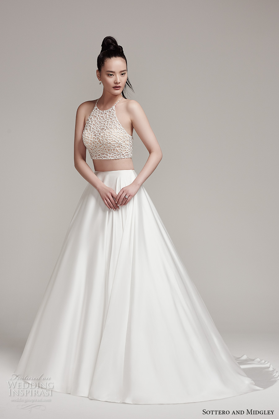 sottero midgley fall 2016 bridal sleeveless halter neck illusion heavily embellished crop top 2 piece satin skirt a line wedding dress chapel train (jude top aviana skirt) mv