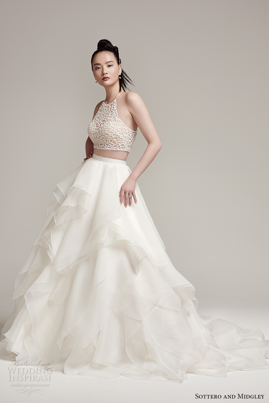 sottero midgley fall 2016 bridal sleeveless halter neck illusion heavily embellished crop top 2 piece tulle tiered skirt a line wedding dress chapel train (jude top blythe skirt) mv