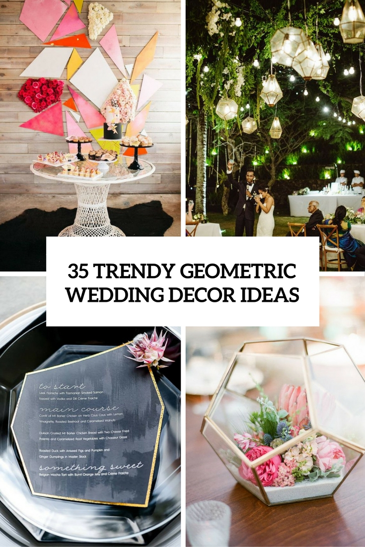 trendy geometric wedidng decor ideas cover