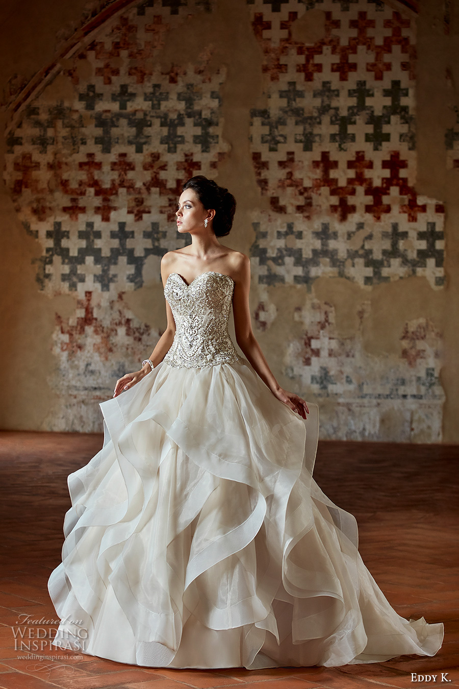 eddy k couture 2017 bridal strapless sweetheart neckline heavily embellished bodice romantic princess glamorous a line wedding dress sweep train (ct184) mv