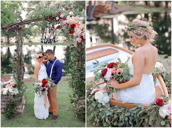 The wedding arch was decorated with a crystal chandelier for a charming look