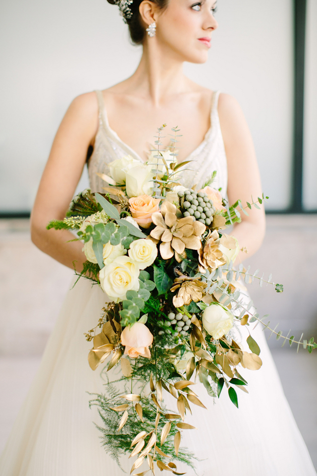 Gold succulent bridal bouquet | Sarah Pudlo & Co