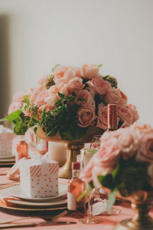 Pink Roses Wedding Centerpiece- Cristina Navarro Photography