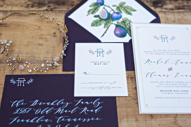 Fig wedding invitation suite | Amilia Photography
