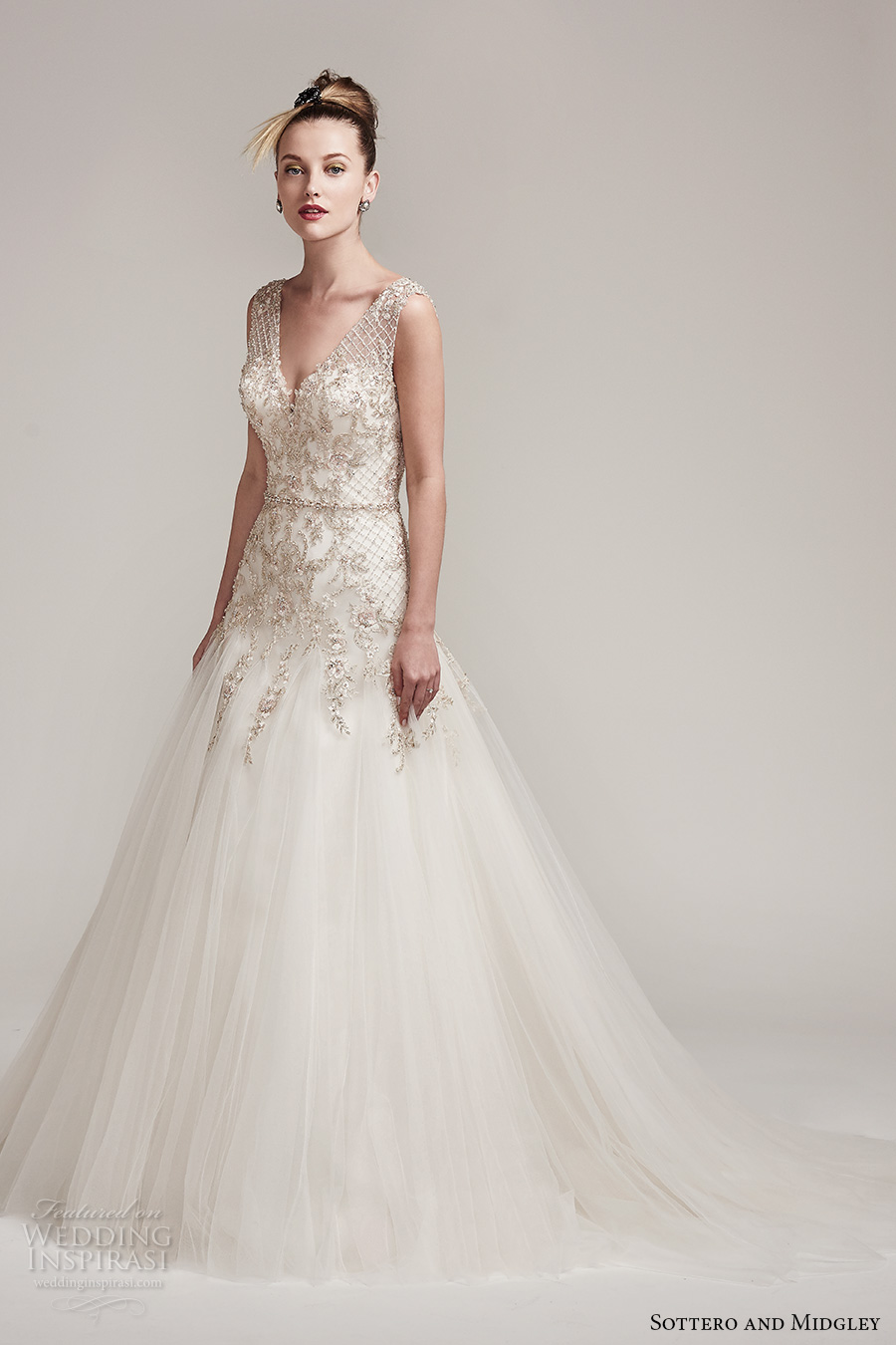 sottero midgley fall 2016 bridal sleeveless v neck heavily embellished bodice metallic embroidered tulle skirt romantic a line wedding dress v back chapel train (shauntelle) mv