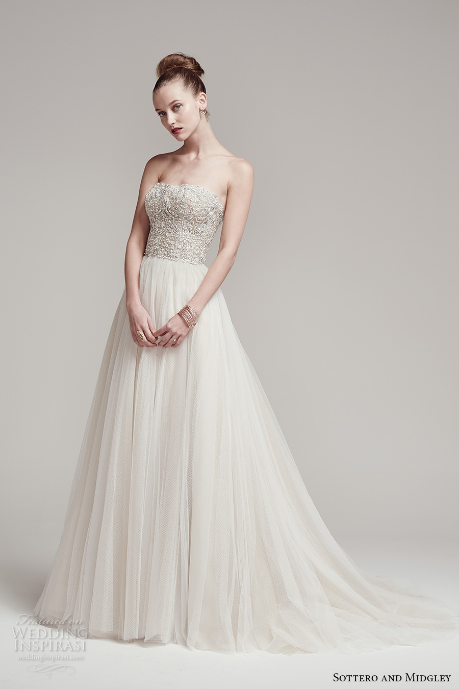 sottero midgley fall 2016 bridal strapless straight across neckline heavily embellished bodice crop top tulle skirt a line wedding dress sweep train (rosella top shardea skirt) mv