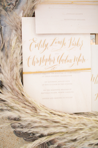Clear and gold wedding invitations | Amanda Hedgepeth Photography