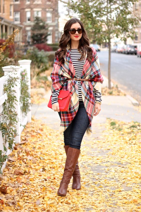 plaid belted blanket scarf, tall boots and stripes