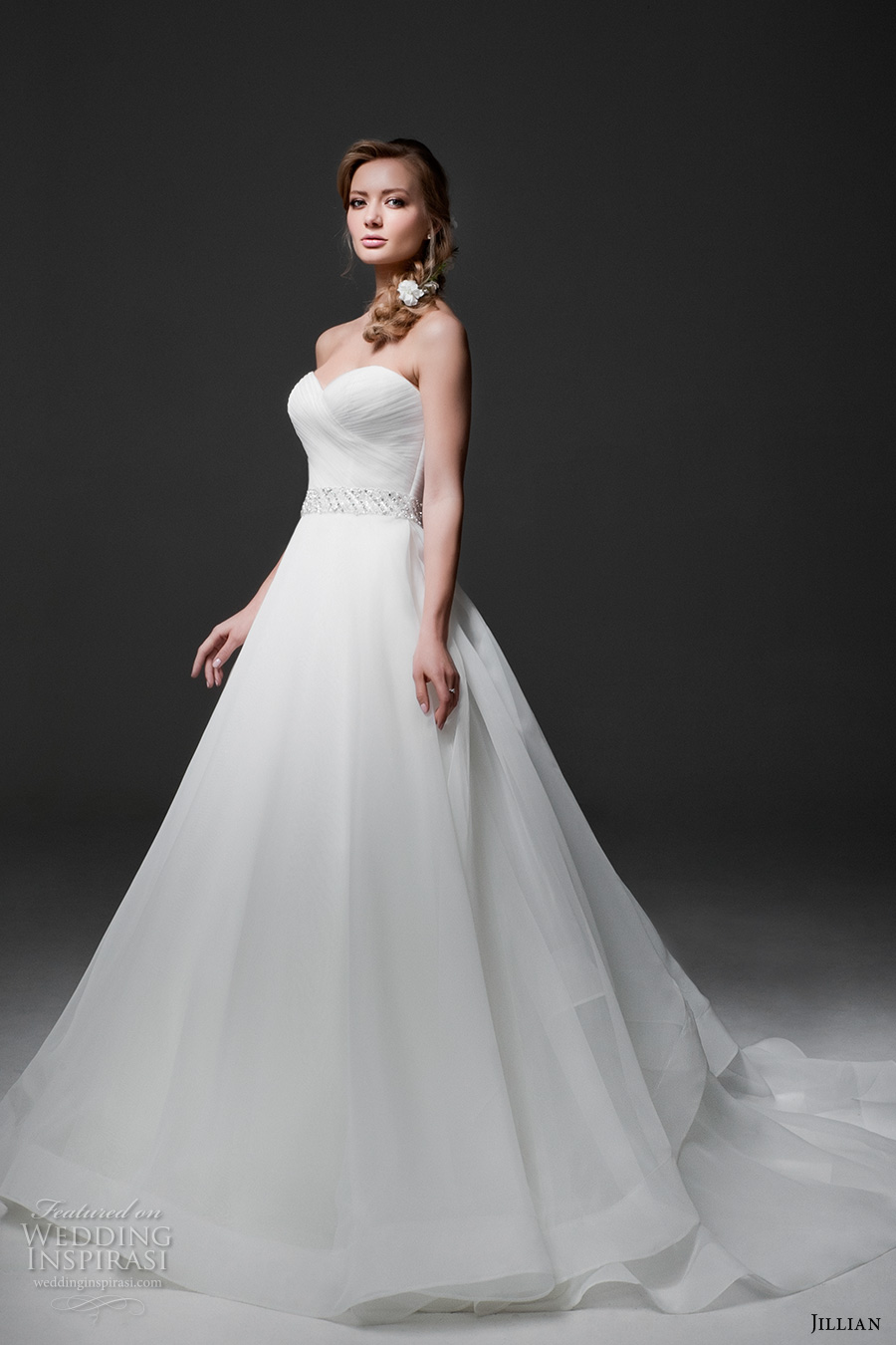 jillian 2017 bridal strapless sweetheart neckline surplice bodice simple classic a line wedding dress chapel train (mia) mv