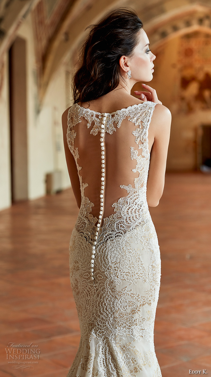 eddy k couture 2017 bridal sleeveless thick strap v neck full embellishment elegant lace fit and flare wedding dress lace back chapel train (ct182) zbv