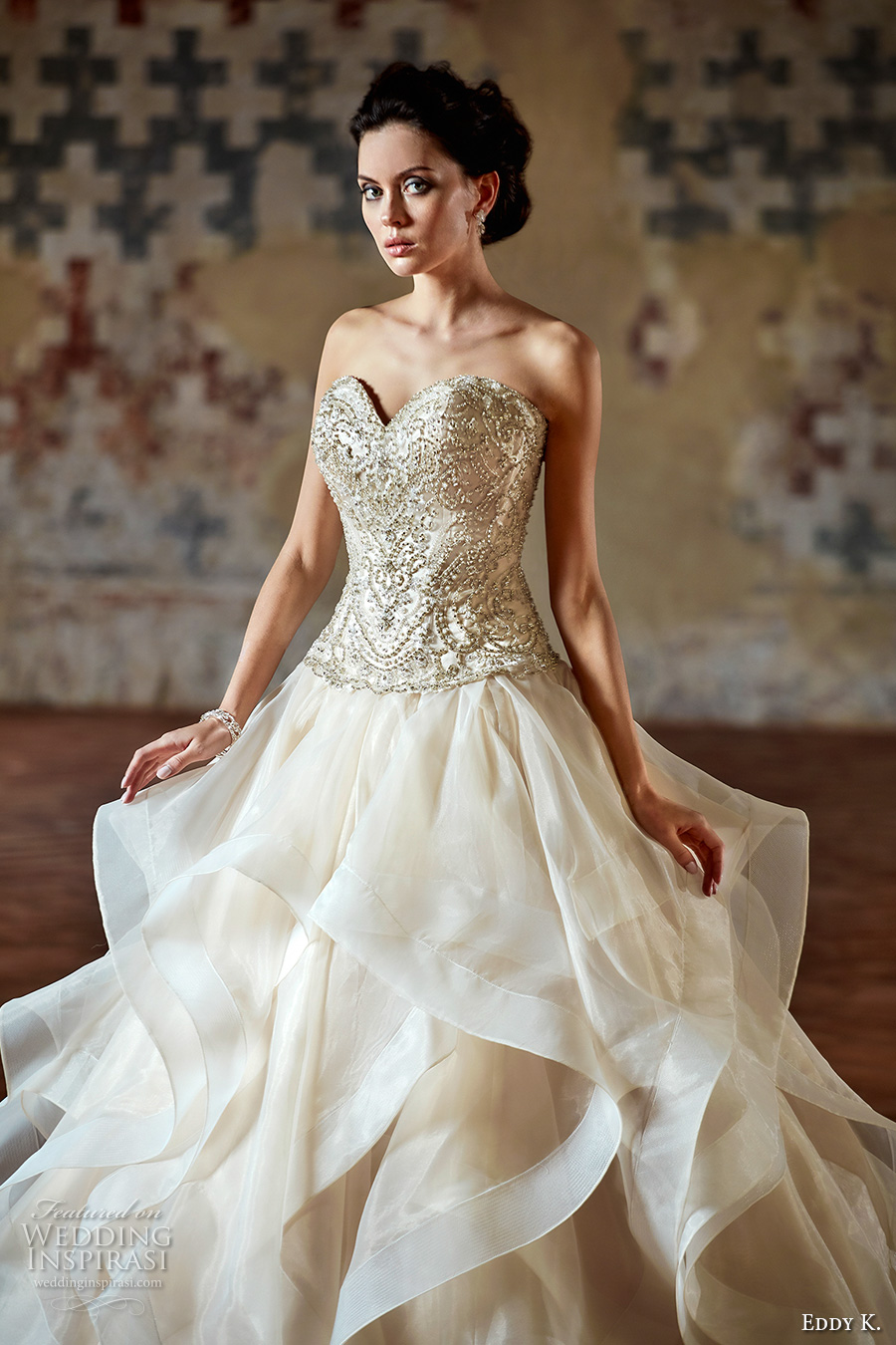 eddy k couture 2017 bridal strapless sweetheart neckline heavily embellished bodice romantic princess glamorous a line wedding dress sweep train (ct184) zv