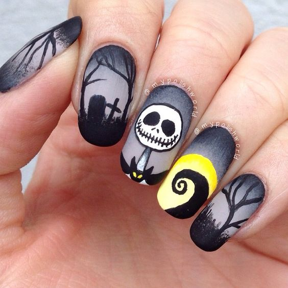 dark nightmare nail art before Christmas Halloween with a matte finish