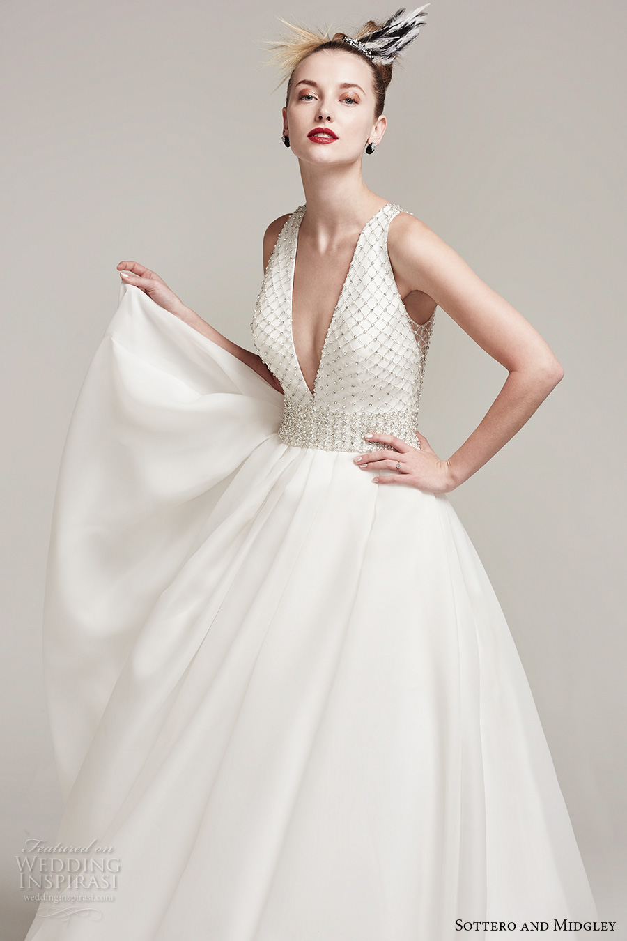 sottero midgley fall 2016 bridal sleeveless deep plunging v neck heavily embellished bodice sophiscated a line wedding dress with pockets illusion back chapel train (tamirys) zv