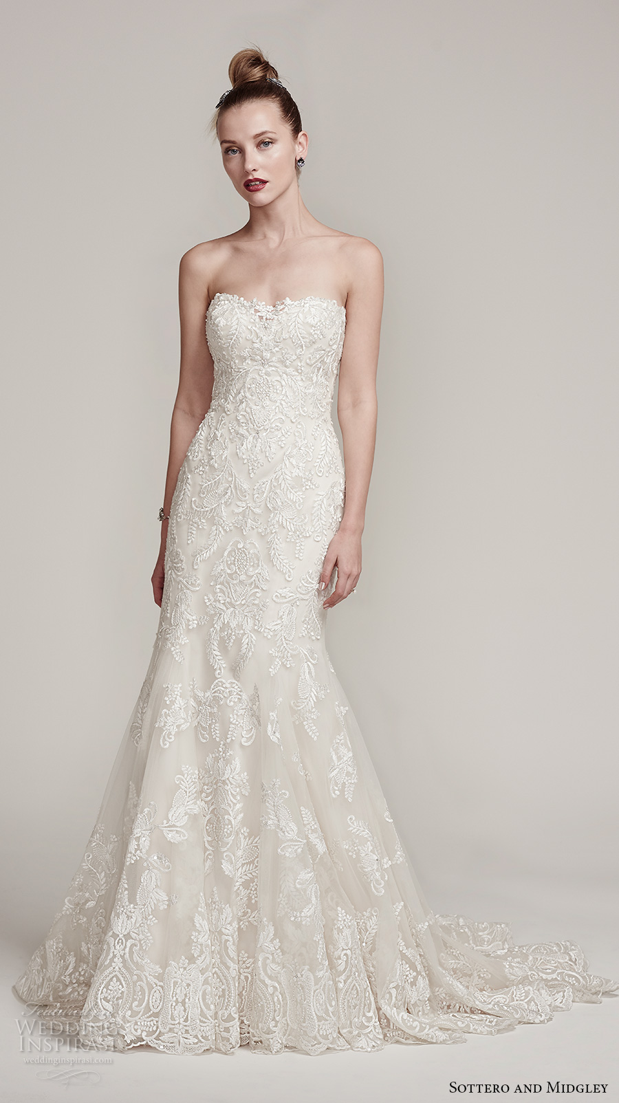 sottero midgley fall 2016 bridal strapless semi sweetheart neckline full embellished gorgeous elegant fit and flare mermaid wedding dress sweep train (tessa) mv