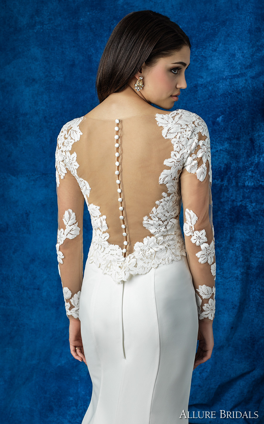 allure bridals 2016 mix match long sleeves lace v neck heavily embellished bodice elegant sheath skirt wedding dress illusion back (a2003 top and a2011 skirt) zbv