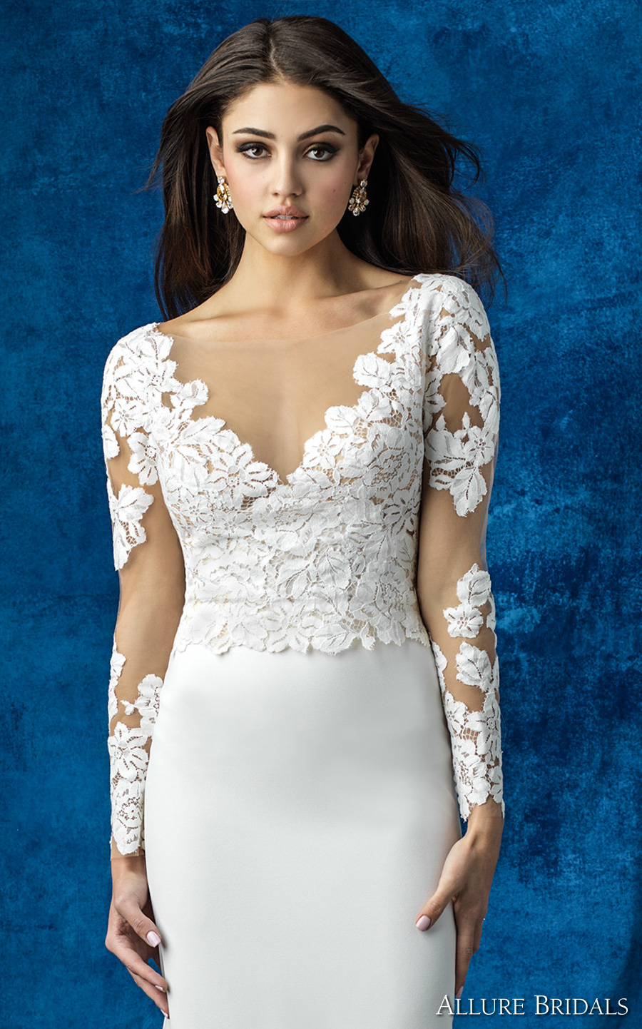 allure bridals 2016 mix match long sleeves lace v neck heavily embellished bodice elegant sheath skirt wedding dress illusion back (a2003 top and a2011 skirt) zv