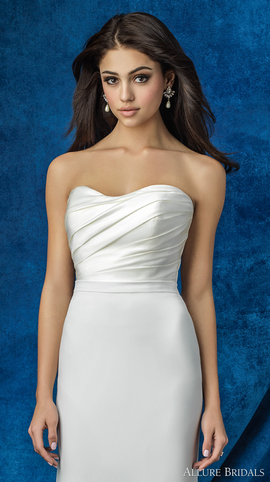 allure bridals 2016 mix match strapless sweetheart neckline satin pleated bodice simple clean classic modified a line skirt wedding dress chapel train (a2000 top and a2011 skirt) zv