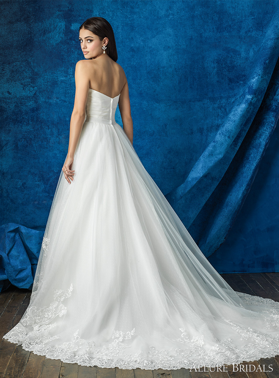 strapless sweetheart neckline satin pleated bodice simple clean princess romantic tulle skirt embellished hem skirt a line wedding dress chapel train (a2000 top and a2012 skirt) bv