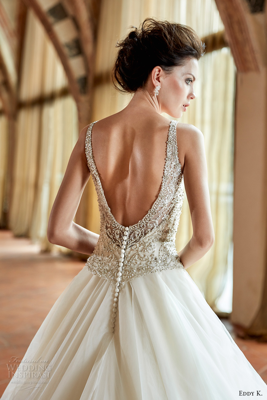 eddy k couture 2017 bridal sleeveless v neck beaded heavily embellished bodice glamorous tiered skirt a line wedding dress open back chapel train (ct179) zbv