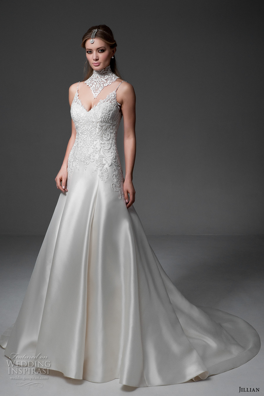 jillian 2017 bridal sleeveless spagetti strap v neck heavily embellished bodice satin glamorous a line wedding dress v back chapel train (maria) mv