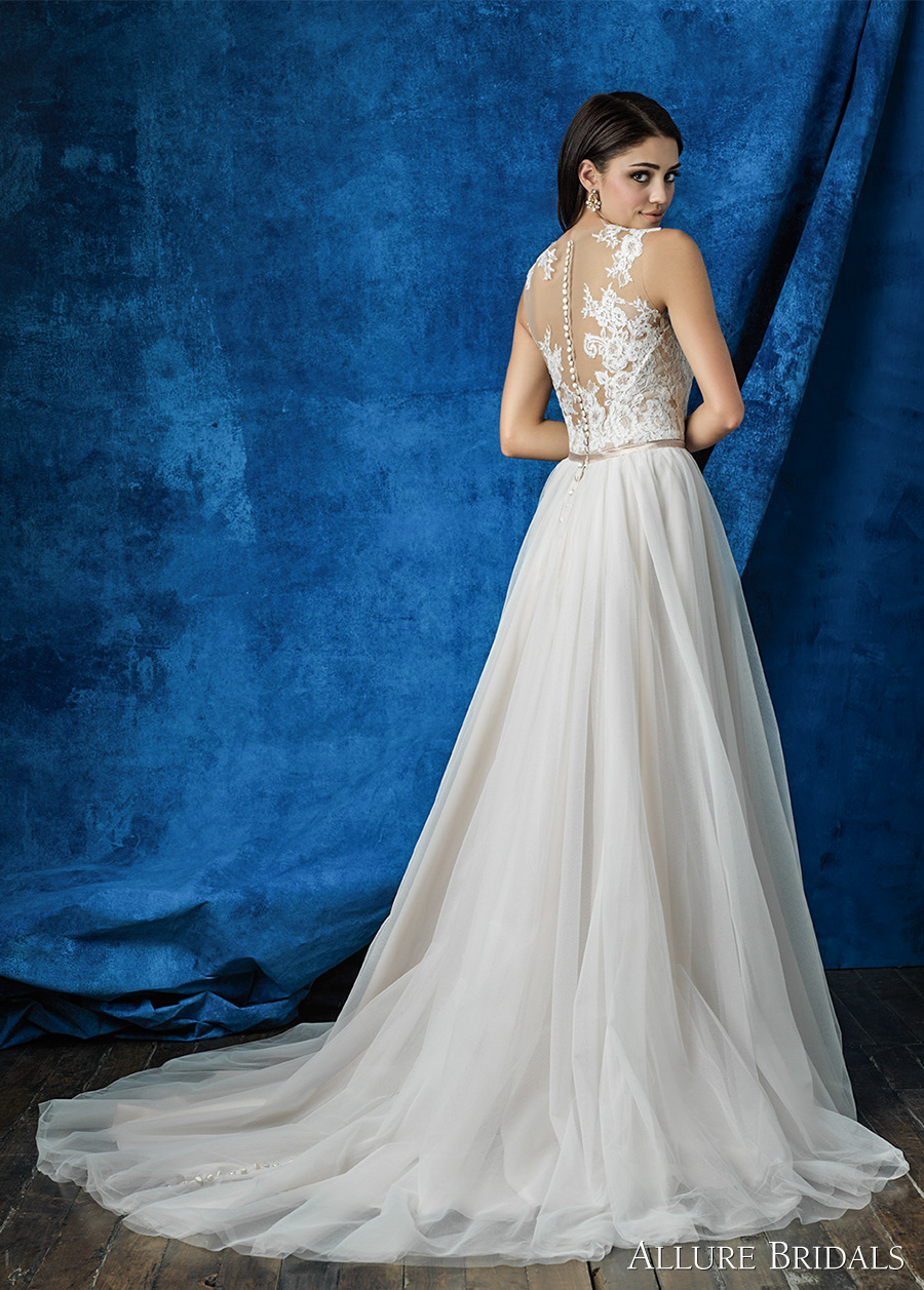 allure bridals 2016 mix match sleeveless illusion round neck plunging v neck lace bodice romantic tulle skirt a line wedding dress illusion back chapel train (a2004 top a2010 skirt) bv