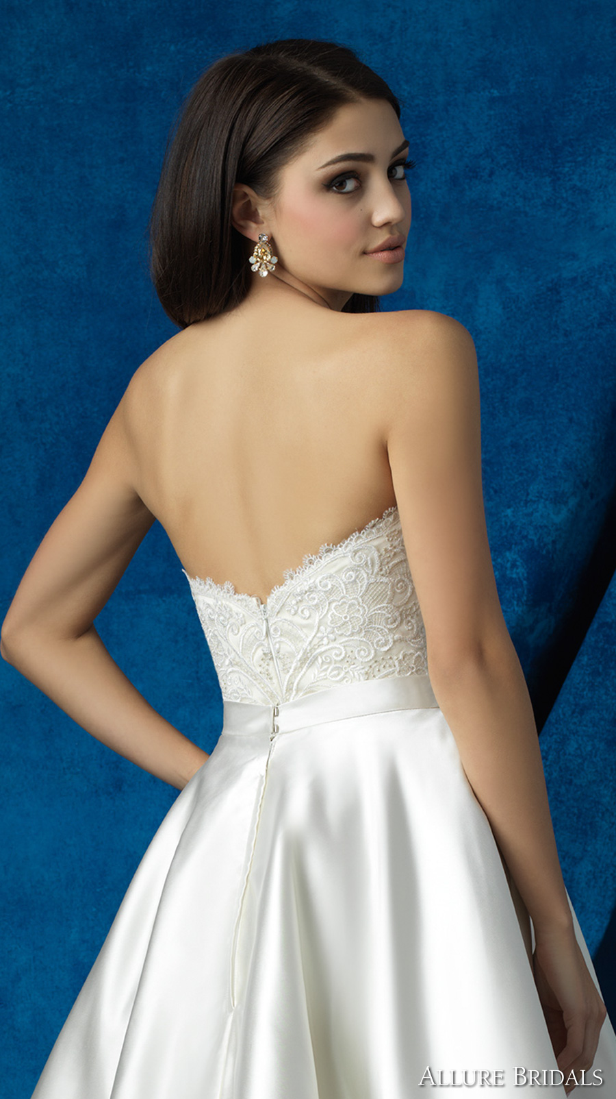 allure bridals 2016 mix match strapless scallop sweetheart neckline heavily embellished bodice satin short skirt knee length short wedding dress (a2001 top and a2006 skirt) zbv