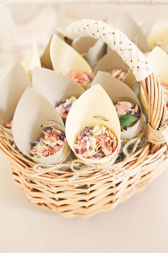 petal cones placed in a basket to carry