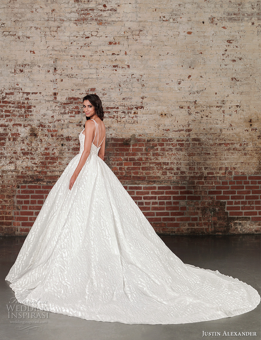 justin alexander spring 2017 bridal spagetti strap sweetheart neckline heavily embellished bodice princess ball gown a line wedding dress long monarch train (9864) bv