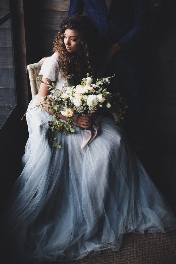 This moody wedding shoot took place in a southern orchard in Atlanta, Georgia