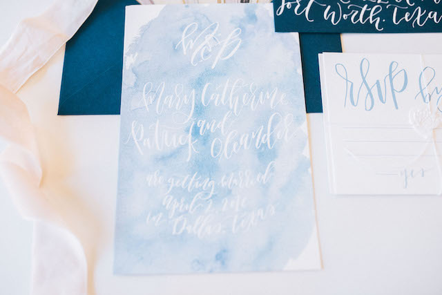 Blue and white marbleized wedding invitation suite with calligraphy | Alba Rose Photography