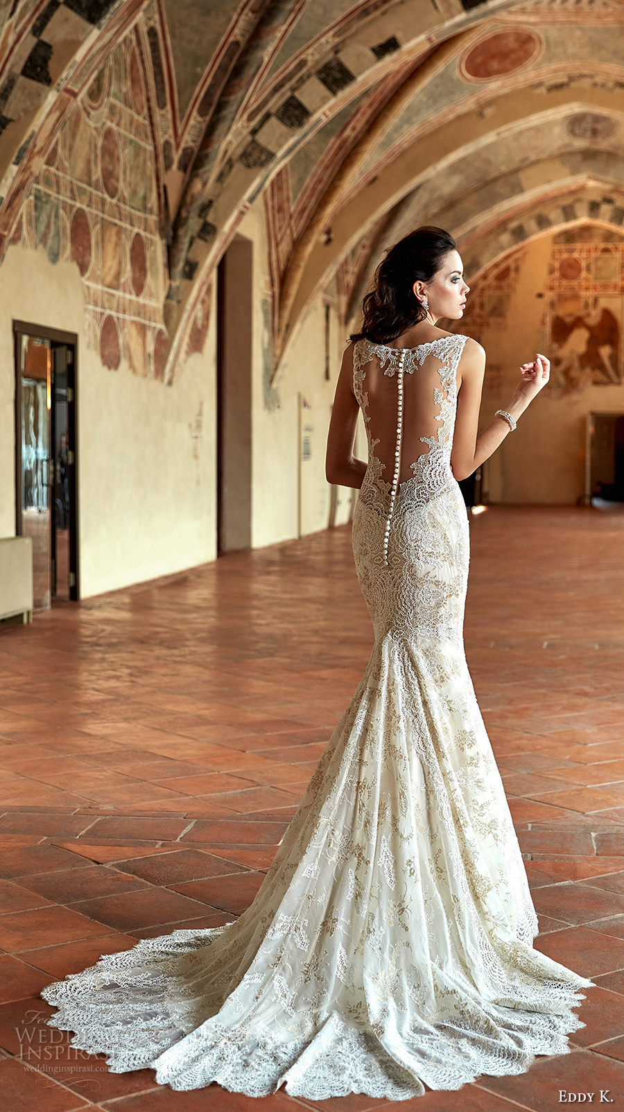 eddy k couture 2017 bridal sleeveless thick strap v neck full embellishment elegant lace fit and flare wedding dress lace back chapel train (ct182) bv