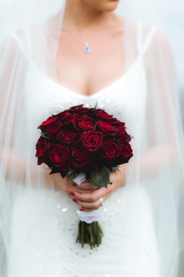 Red roses wedding bouquet - Dan and Melissa