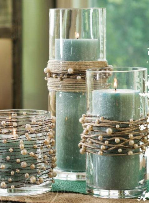 pearl wire garlands and aqua color pillar candles