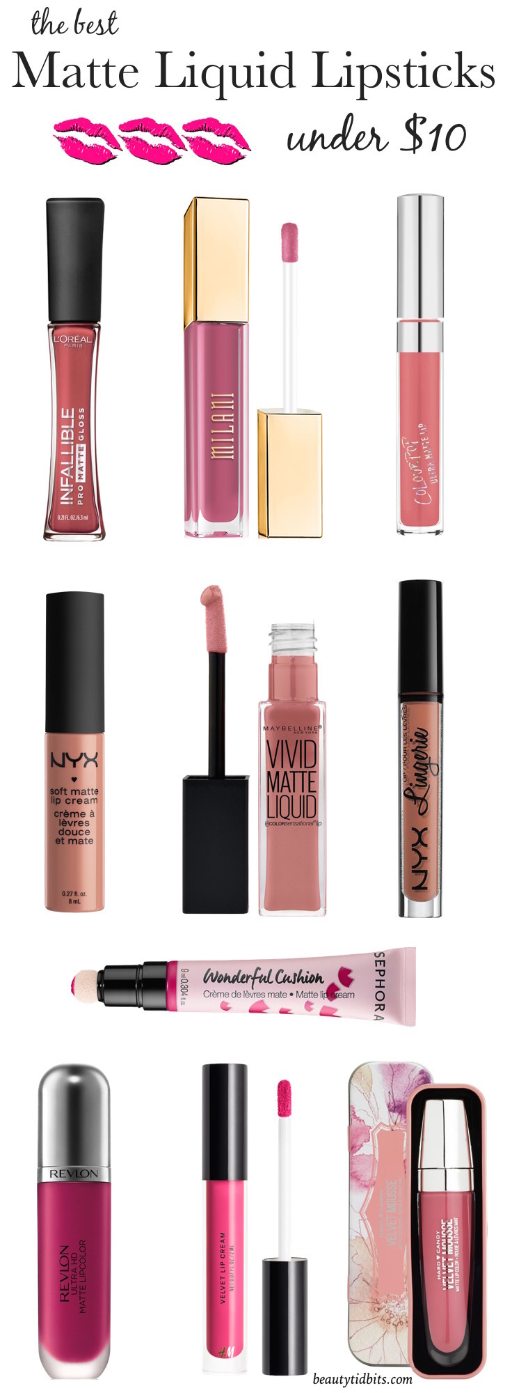 Best Matte Liquid Lipsticks (under $  10) that are long-lasting and won't dry your lips! You NEED these! Click through to get the Ultimate list of drugstore liquid lipsticks you need right now!
