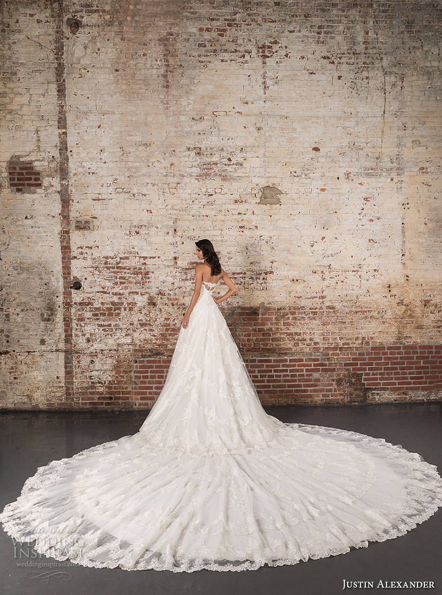 justin alexander spring 2017 bridal strapless sweetheart neckline heavily embellished bodice classic lace a line wedding dress long train (9860) bv