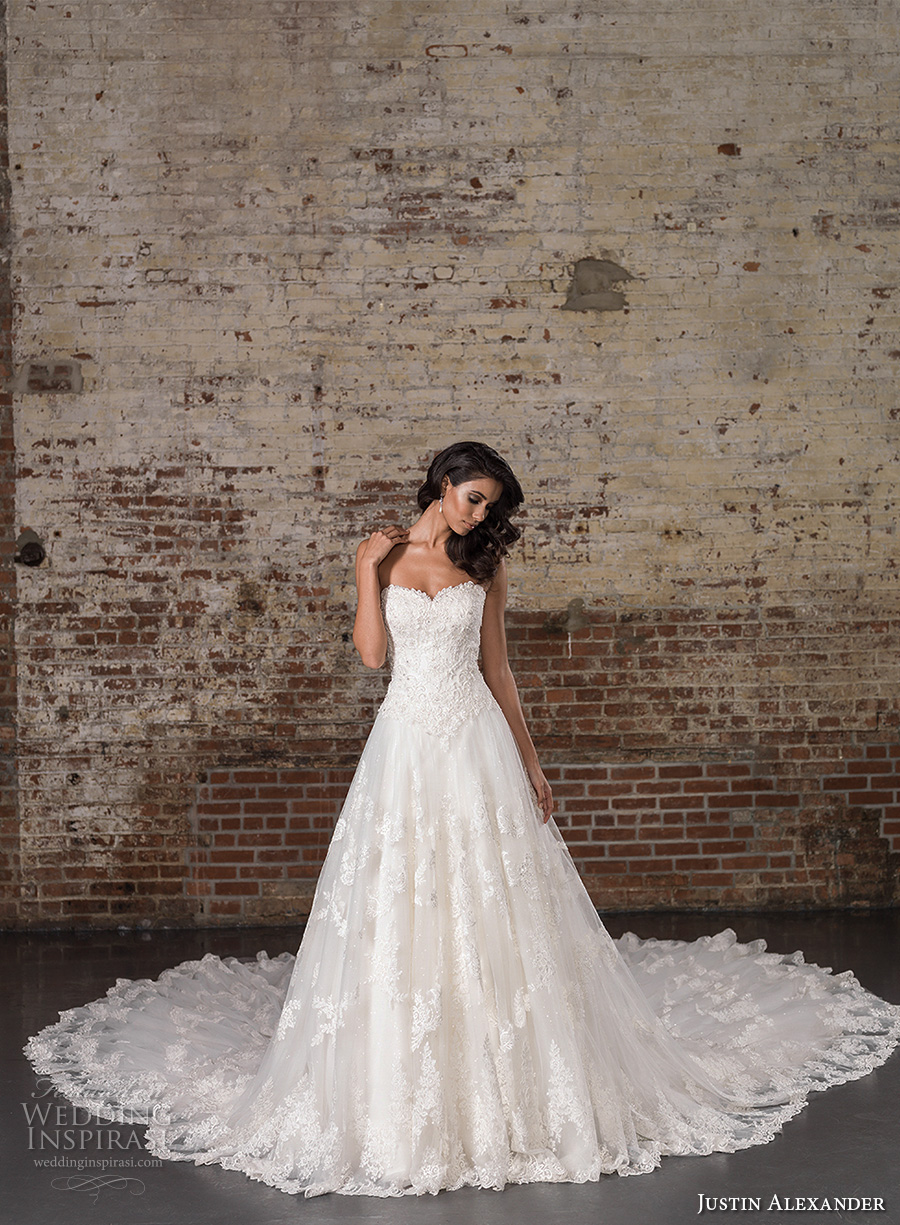 justin alexander spring 2017 bridal strapless sweetheart neckline heavily embellished bodice classic lace a line wedding dress long train (9860) mv