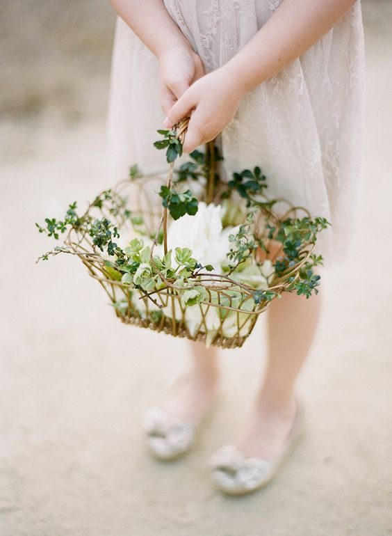 vintage flower girl basket from vine and greenery