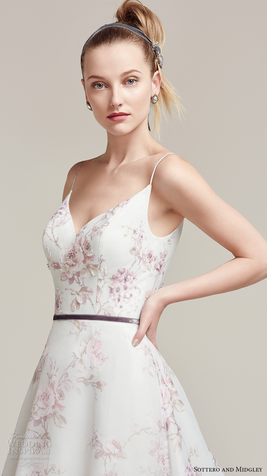 sottero midgley fall 2016 bridal spagetti strap v neck flower prints pretty romantic a line wedding dress low back chapel train (kira) zv